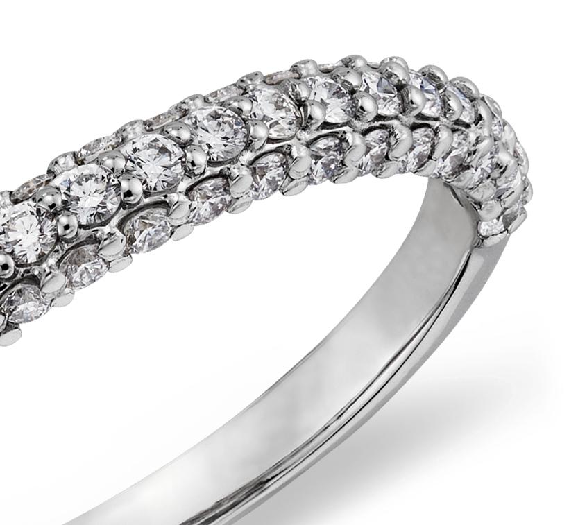 14k 白金星光密釘鑽石戒指