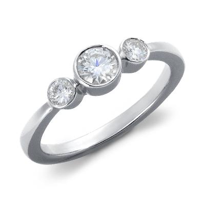 BezelSet Diamond ThreeStone Ring in 18k White Gold 12 ct tw