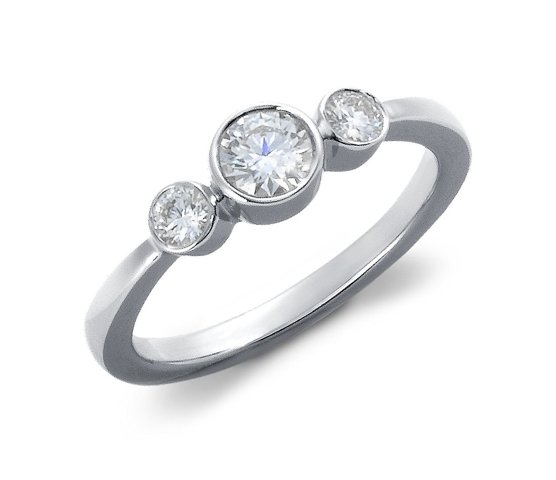 Bezel-Set Diamond Three-Stone Ring in 18k White Gold (1/2 ct. tw.)