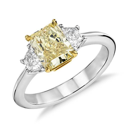 Yellow Gold Diamond Platinum: Fancy Yellow Three-Stone Diamond Ring In Platinum And 18k