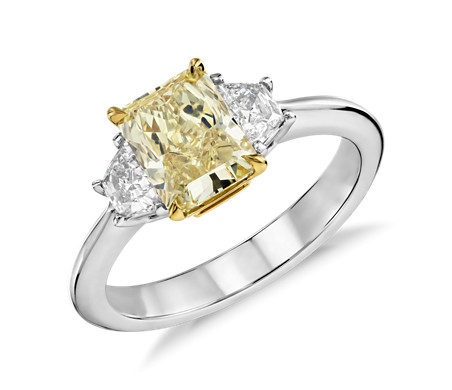 Fancy Yellow Three-Stone Diamond Ring in Platinum and 18k Yellow Gold (1.33 ct. center)