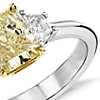 Fancy Yellow Three-Stone Diamond Ring in Platinum and 18k Yellow Gold (1.33 ct. center)