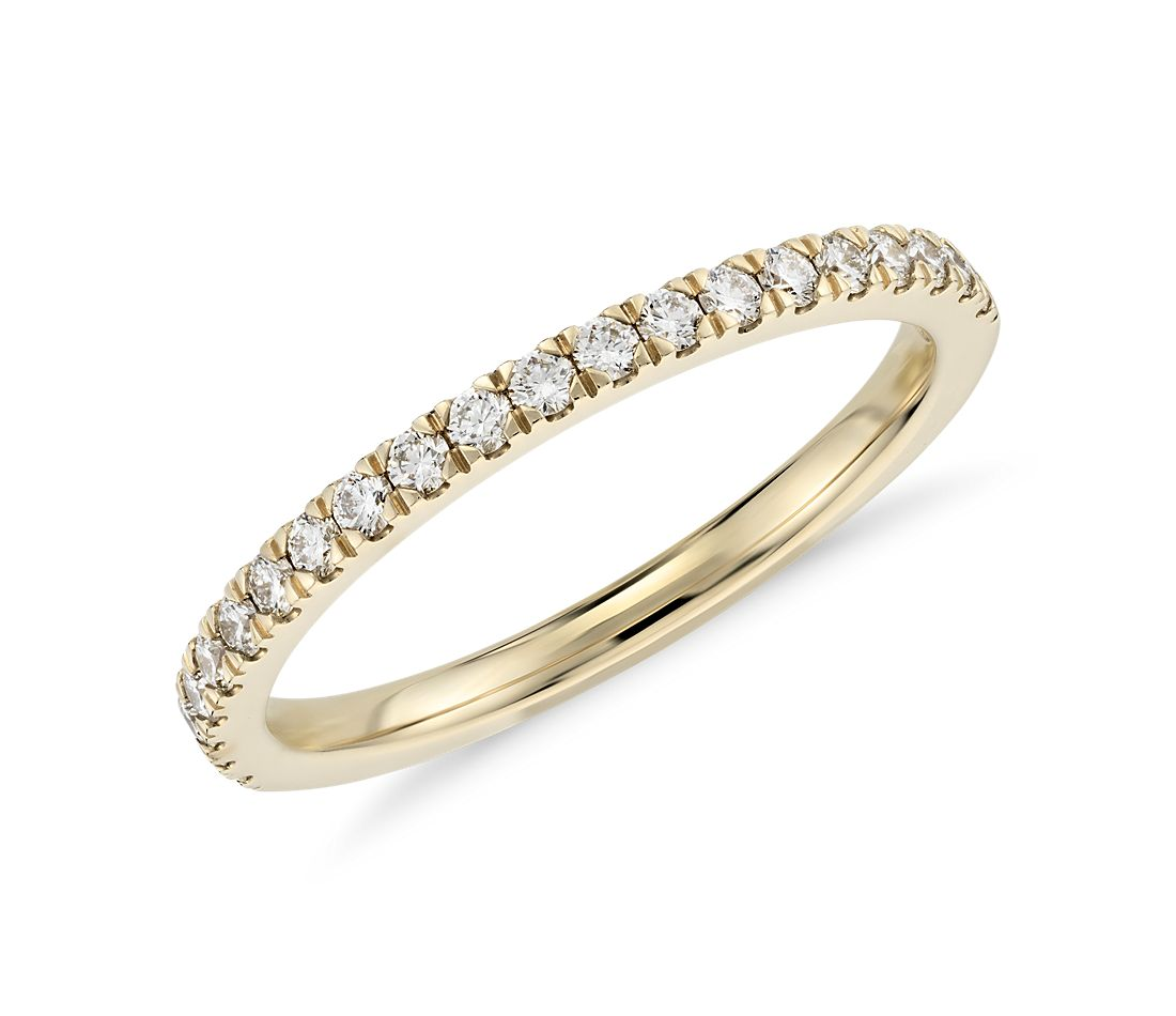 Petite Pavé Diamond Ring in 18k Yellow Gold
