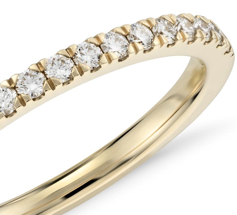 Petite bague en diamants sertis pavé en or jaune 18carats (1/3carat, poids total)