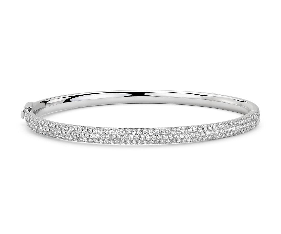 White Gold Cuff Bracelet: Lucille Diamond Bangle Bracelet In 18k White Gold (1.8 Ct