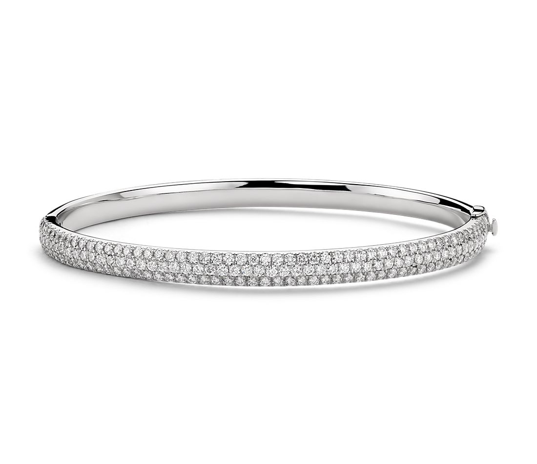 Lucille Diamond Rollover Bangle Bracelet in 18k White Gold (3.1 ct. tw.)