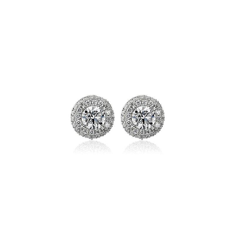 Diamond Rollover Halo Stud Earrings in 14k White Gold (1 ct. tw.)