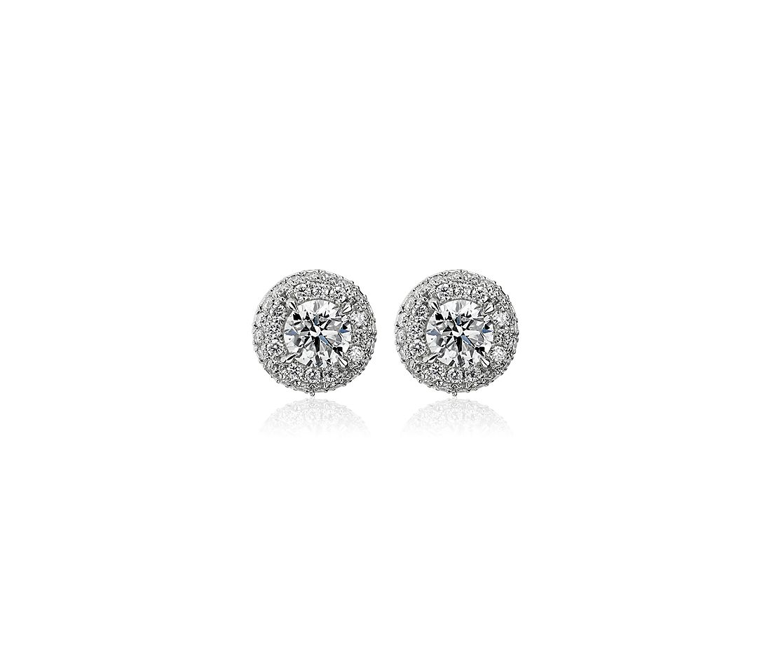 Diamond Rollover Halo Stud Earrings in 14k White Gold (1.05 ct. tw.)