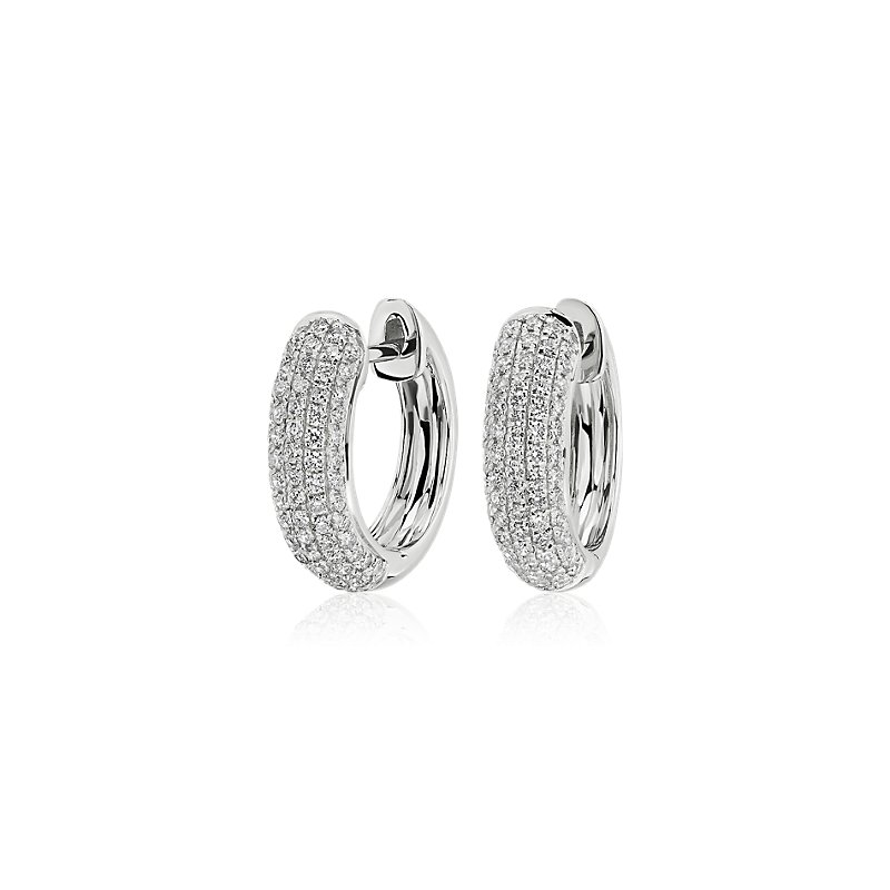 Diamond Rollover Hoop Earrings in 14k White Gold (3/4 ct. tw.)