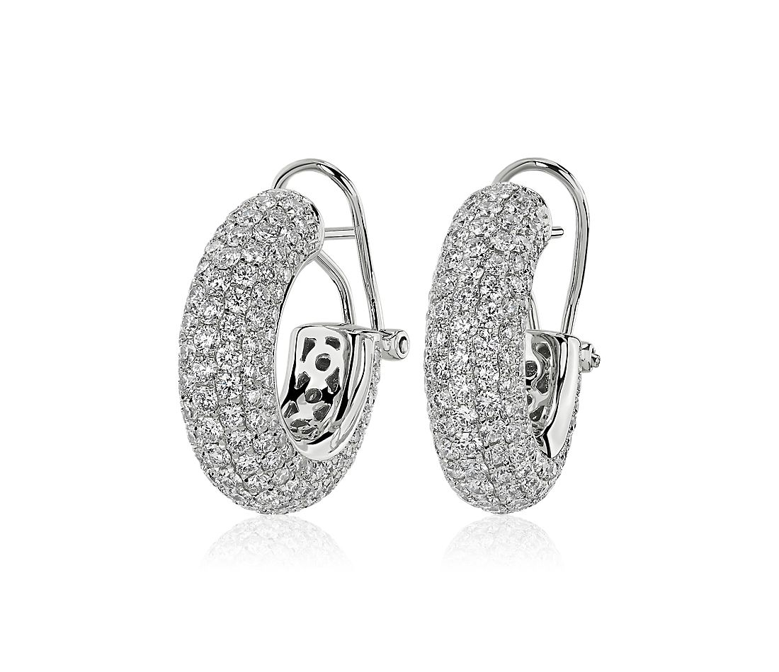 Diamond Rollover Hoop Earrings in 14k White Gold (4 3/4 ct. tw.)