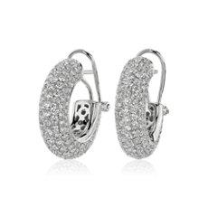 14k 白金鑽石滾轉圈形耳環(4 3/4 克拉總重量)
