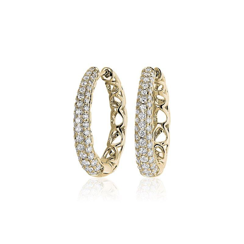 Diamond Rollover Hoop Earrings in 14k Yellow Gold (1 ct. tw.)