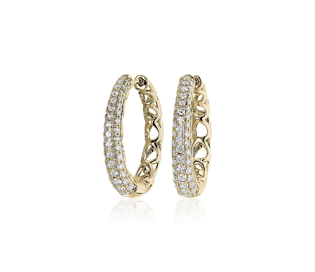 Diamond Rollover Hoop Earrings in 14k Yellow Gold (1 ct. tw.)