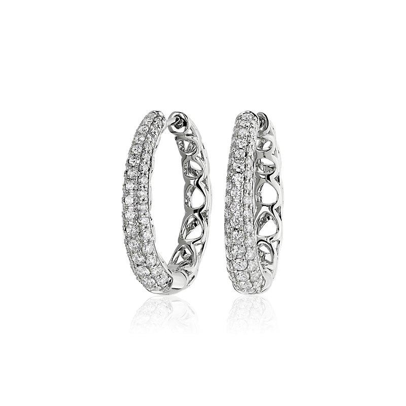 Diamond Rollover Hoop Earrings in 14k White Gold (1 ct. tw.)