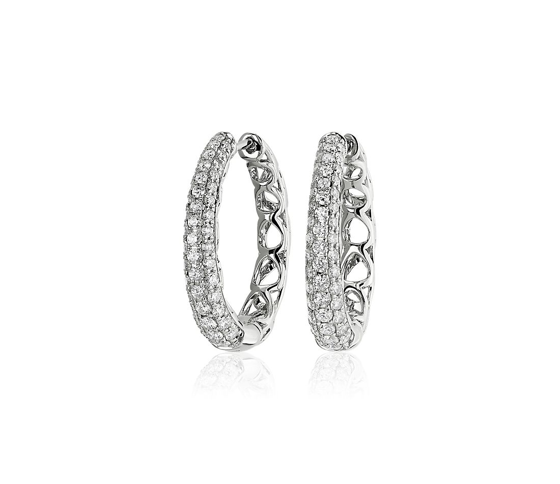 Diamond Rollover Hoop Earrings in 14k White Gold (1 ct. tw.)