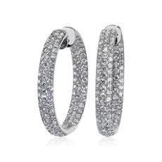 NEW Diamond Rollover Hoop Earrings in 14k White Gold (7 1/2 ct. tw.)
