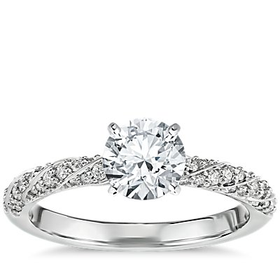 Diamond Rope Twist Engagement Ring in 14k White Gold