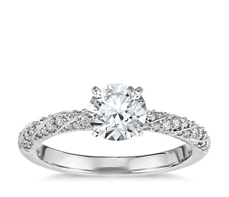 Diamond Rope Twist Engagement Ring in 14k White Gold (1/3 ct. tw.)