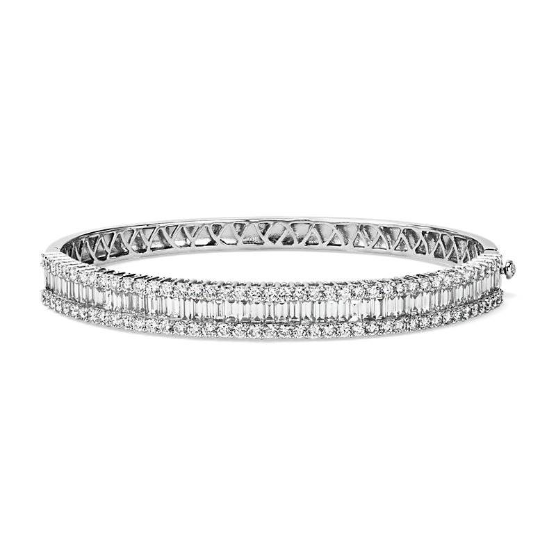 Round and Baguette Diamond Bangle in 14k White Gold (4 1/2 ct. tw