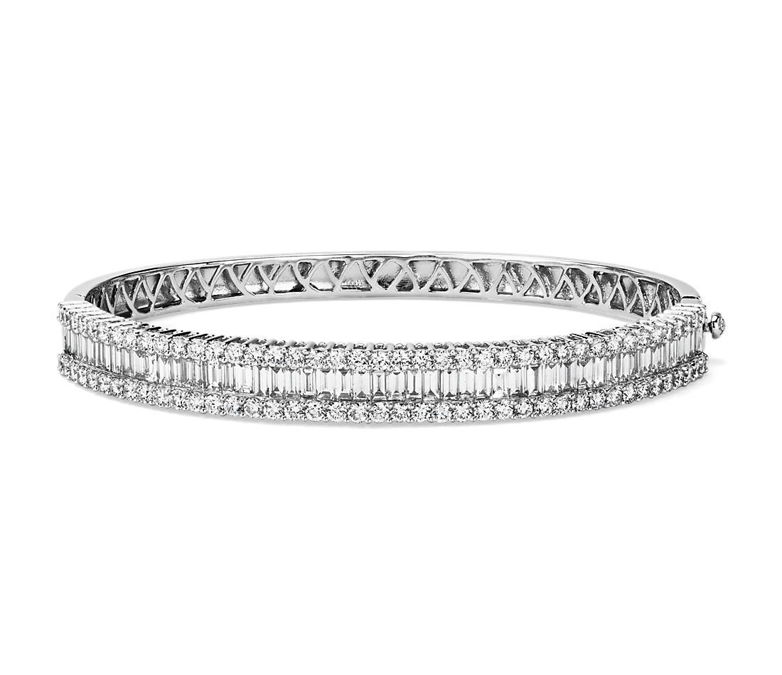 Round and Baguette Diamond Bangle in 14k White Gold (4 1/2 ct. tw.)