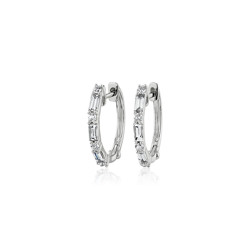 Diamond Round and Baguette Mini Hoop Earrings in 14k White Gold (