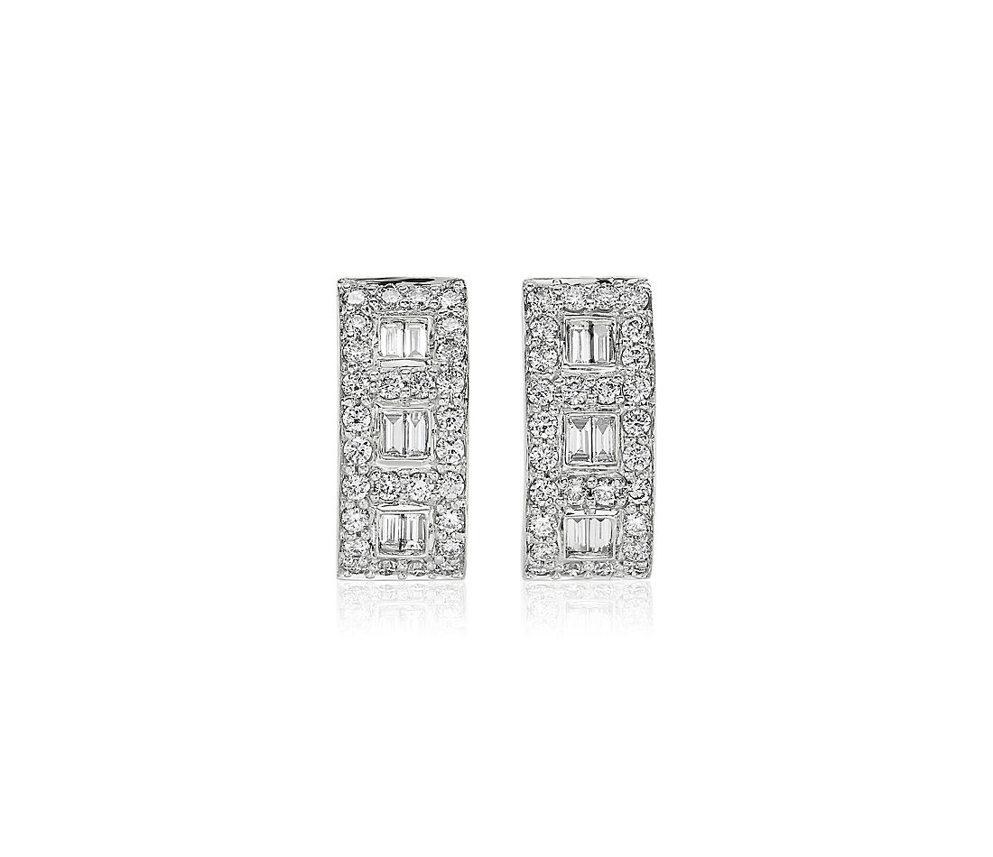 Diamond Round and Baguette Rectangular Hoop Earrings in 14k White Gold (9/10 ct. tw.)