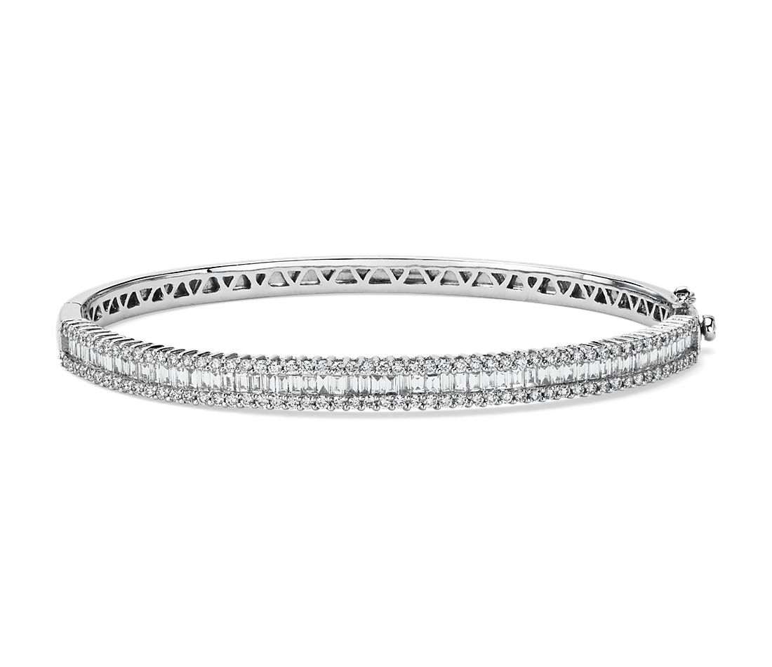 Bracelet jonc diamants ronds et baguette en or blanc 14 carats
