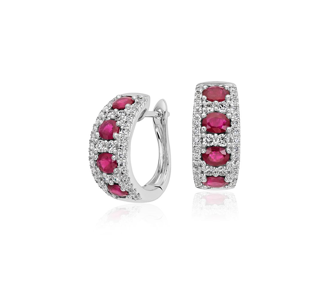 Ruby and Diamond Hoop Earring in 14k White Gold (4x3mm)