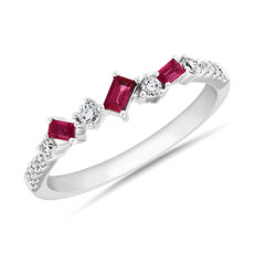 NEW Diamond Ruby Baguette Fashion Ring in 18k White Gold