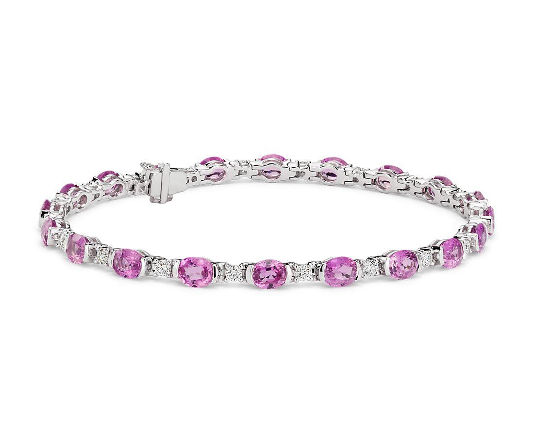 橢圓粉紅色藍寶石鑽石半包邊鑲嵌18k 白金手鍊( 5x4毫米)