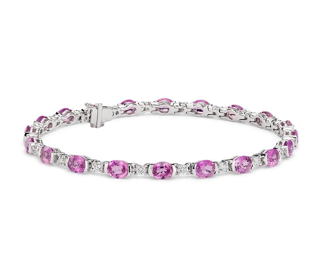 Oval Pink Sapphire and Diamond Semi-Bezel-Set Bracelet in 18k White Gold
