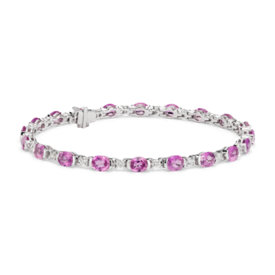 Oval Pink Sapphire and Diamond Semi-Bezel-Set Bracelet in 18k White Gold (5x4mm)