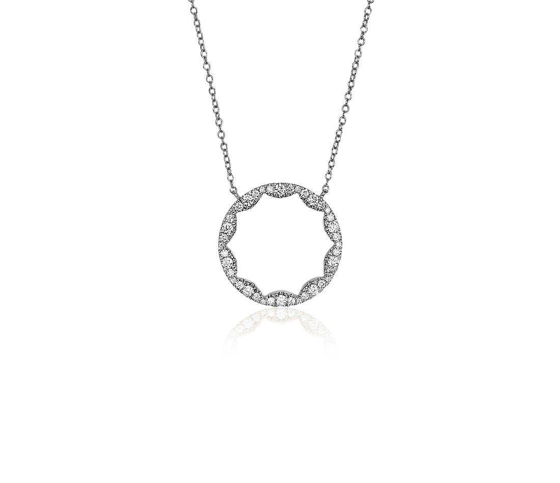 Diamond Scalloped Circle Pendant in 14k White Gold (1/3 ct. tw.)