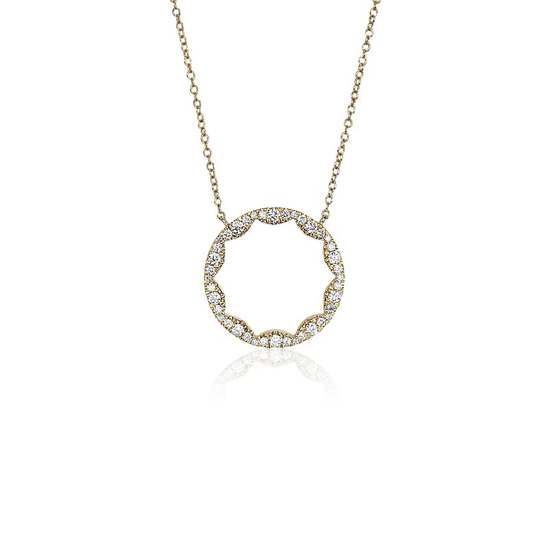 Diamond Scalloped Circle Pendant in 14k Yellow Gold (1/3  ct. tw.)