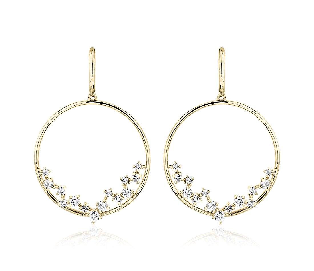Diamond Scatter Hoop Earrings in 14K Yellow Gold (1/2 ct. tw.)