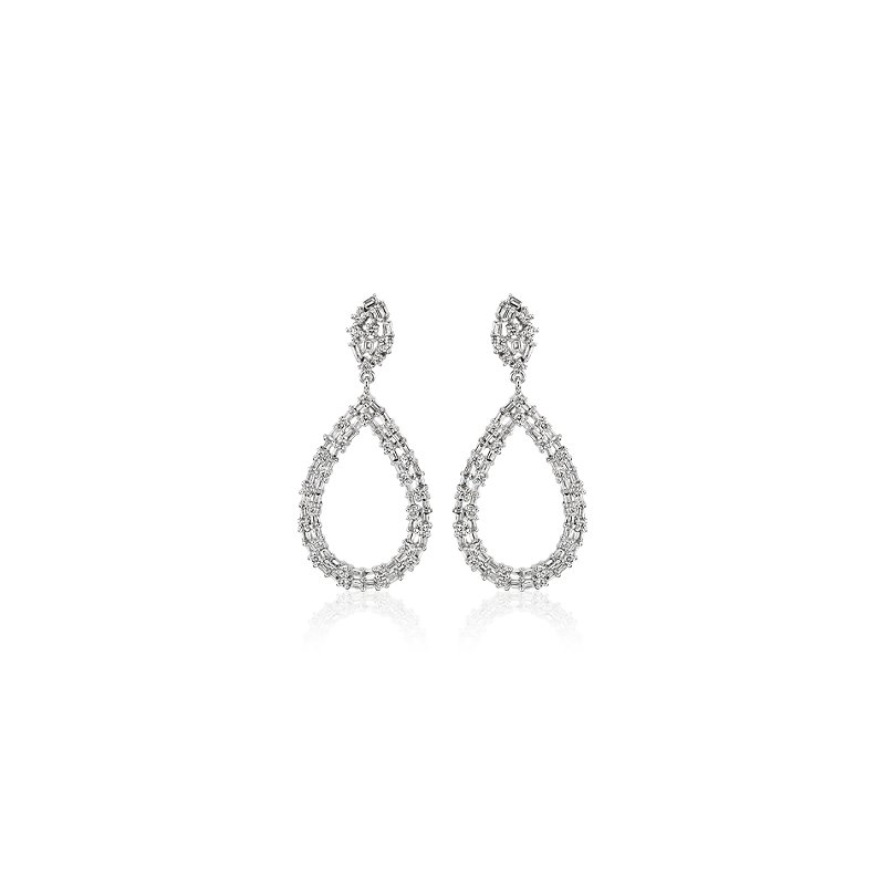 Diamond Scatter Tear Drop Earrings in 14k White Gold (1 1/4 ct. t