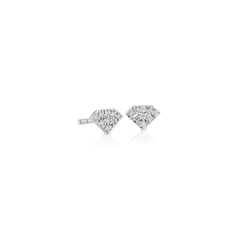 Mini Diamond-Shaped Diamond Stud Earrings in 14k White Gold