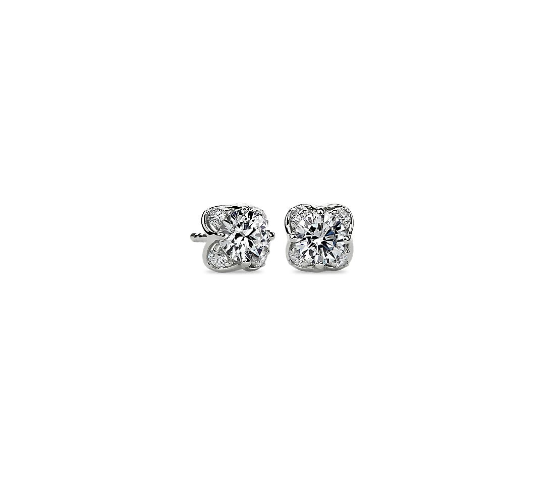 Diamond Side Profile Studs in 14k White Gold (1 ct. tw)