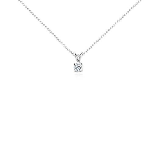 Diamond solitaire pendant in 14k white gold 34 ct tw blue nile aloadofball Gallery