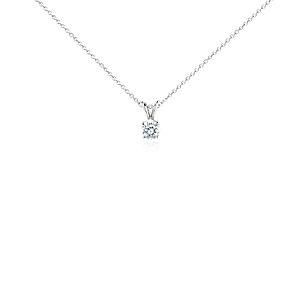 Colgante de diamante solitario en oro blanco de 14 k (3/4 qt. total)