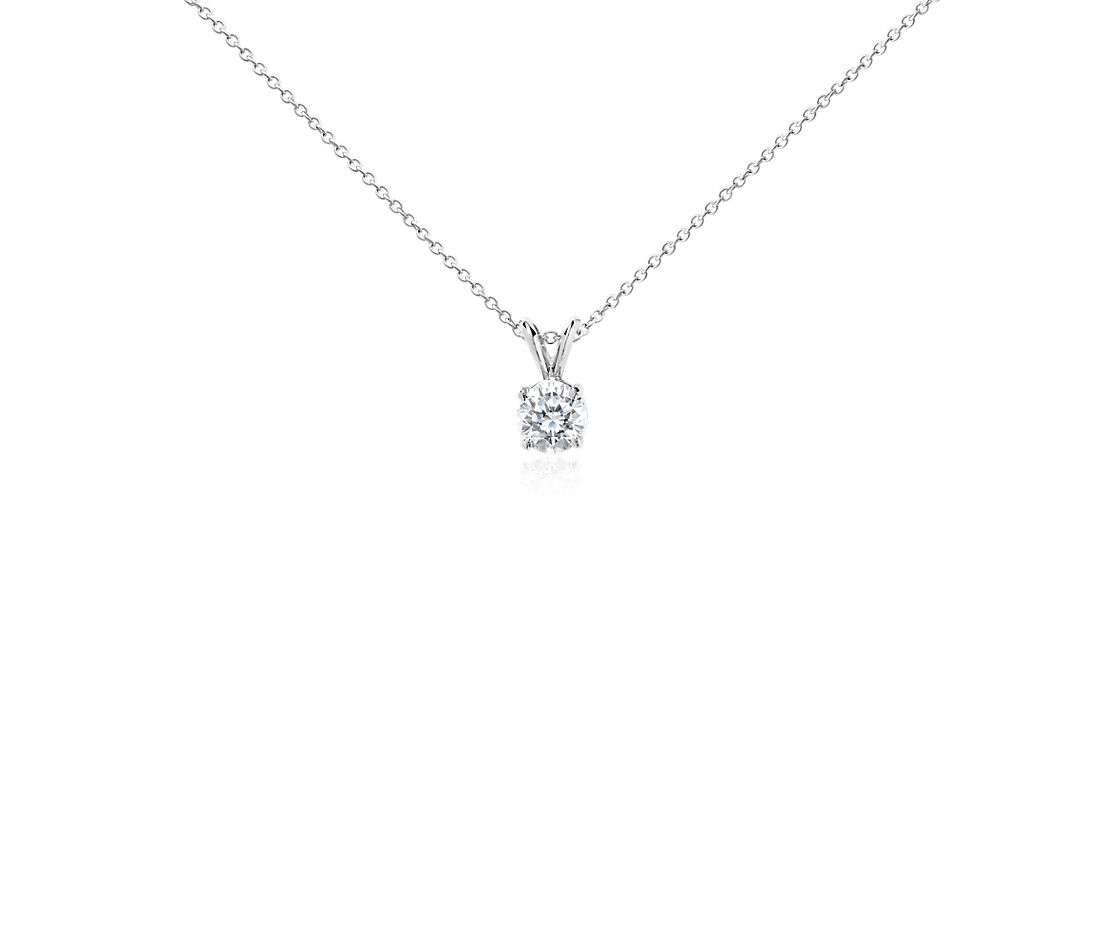 Diamond Solitaire Pendant In 14k White Gold 1 Ct Tw