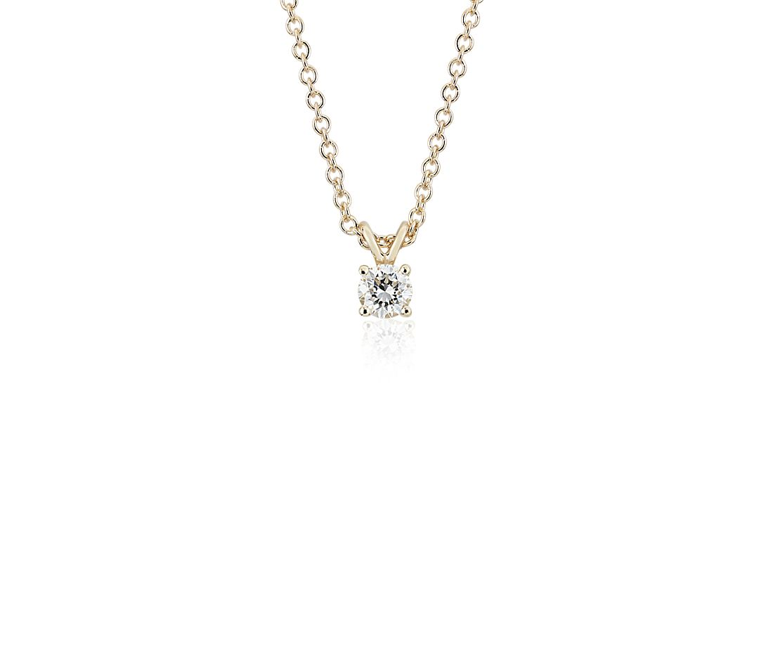 14k Yellow Gold Four-Claw Diamond Pendant