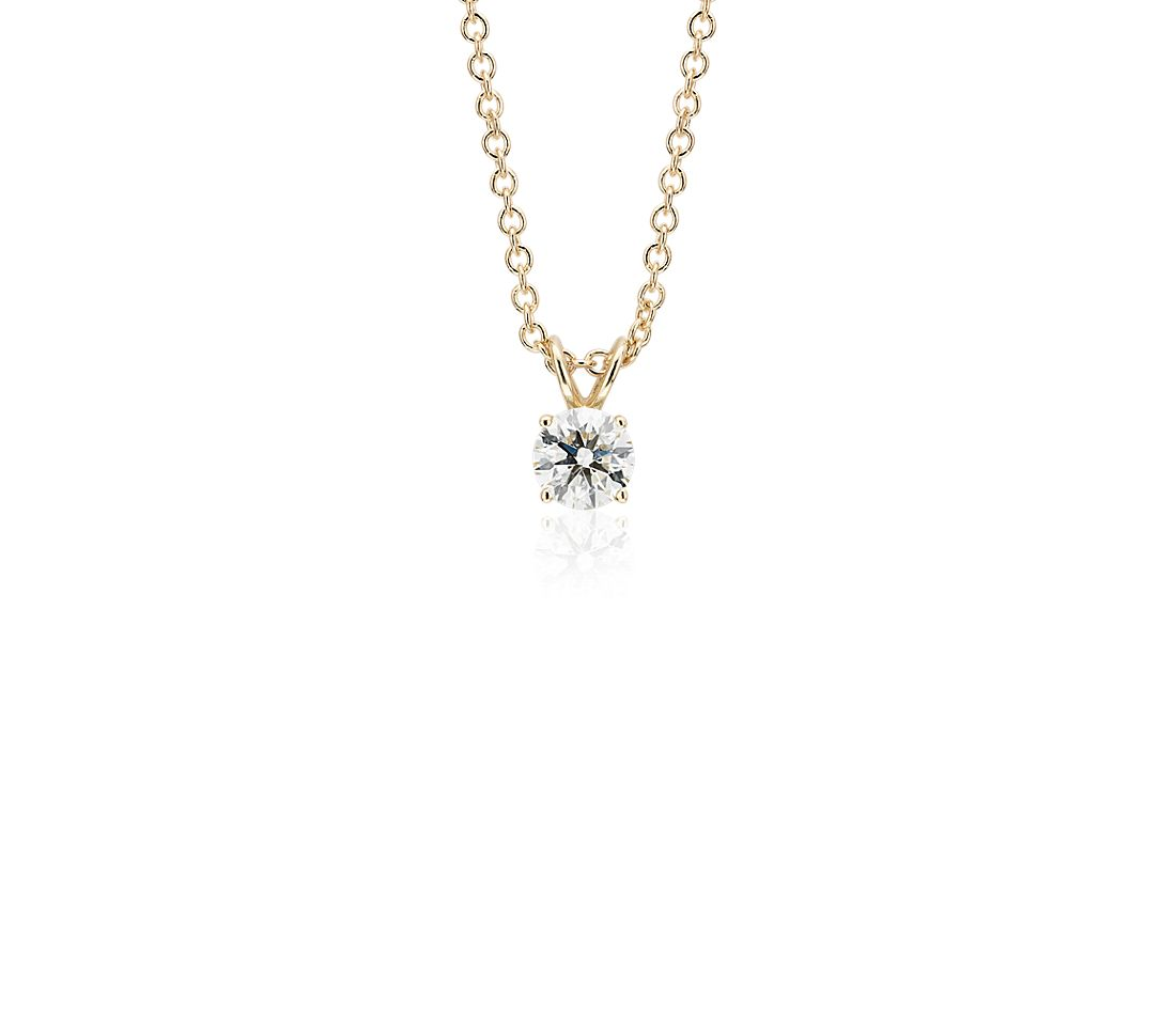 14k Yellow Gold Four-Claw  Diamond Pendant (0.45 ct. tw.)