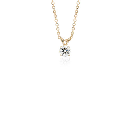 14k Yellow Gold Four-Claw  Diamond Pendant (1/2 ct. tw.)