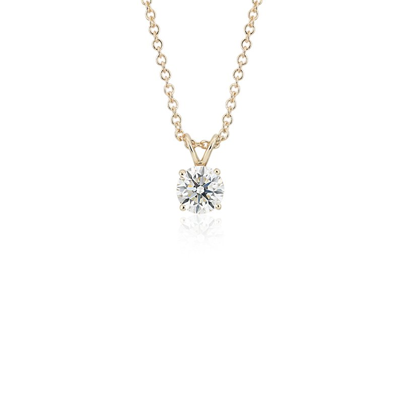 Diamond Solitaire Pendant in 14k Yellow Gold (1 ct. tw.)
