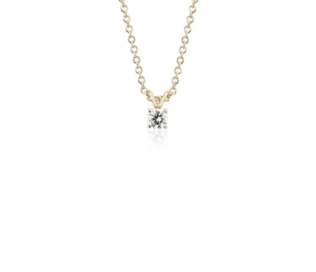 14k Yellow Gold Four-Claw  Diamond Pendant (1/4 ct. tw.)