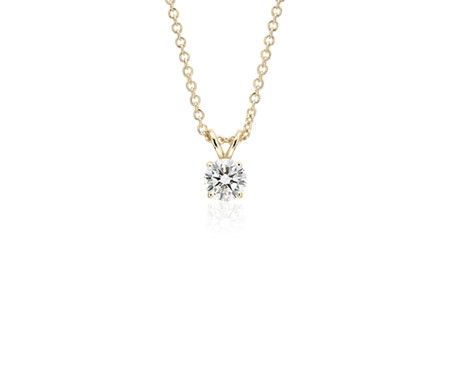 14k Yellow Gold Four-Claw Diamond Pendant (3/4 ct. tw.)