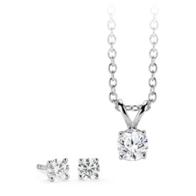 Diamond Solitaire Earring and Pendant Set in 14k White Gold