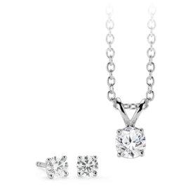 Ensemble de boucles d'oreilles et pendentif solitaire diamant en or blanc 14carats