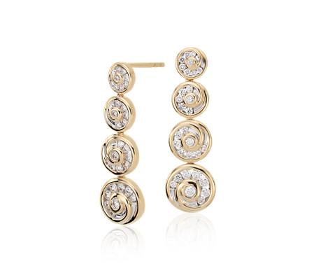 Blue Nile Studio Diamond Spiral Drop Earrings in 18k Yellow Gold (5/8 ct. tw.)
